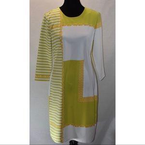 J. McLaughlin Green/white Printed Dress Sz L